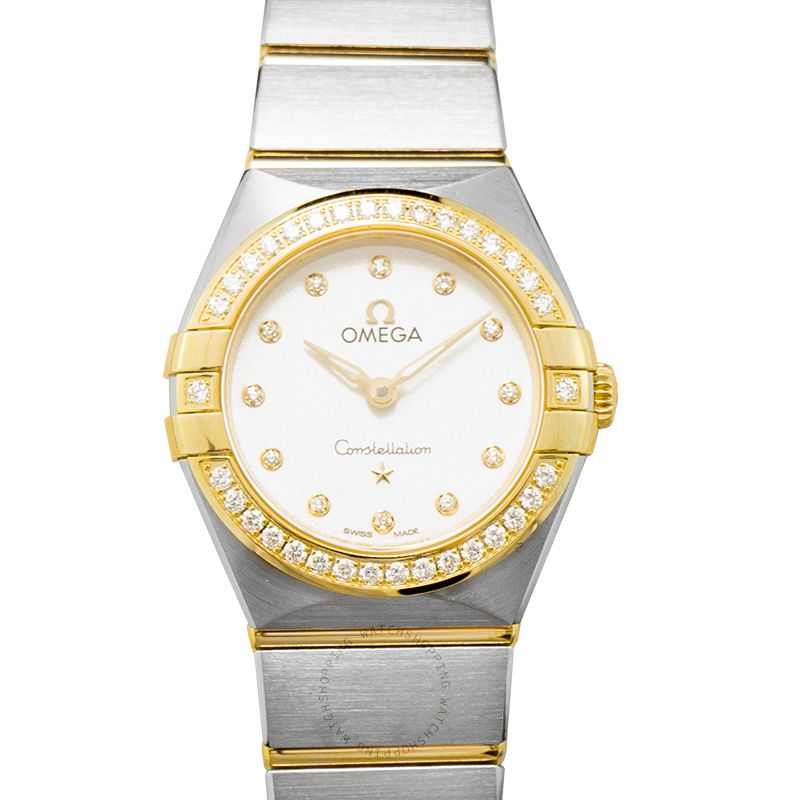 Omega Constellation Manhattan Quartz 25mm Quartz Silver Dial Diamonds Yellow Gold Ladies Watch