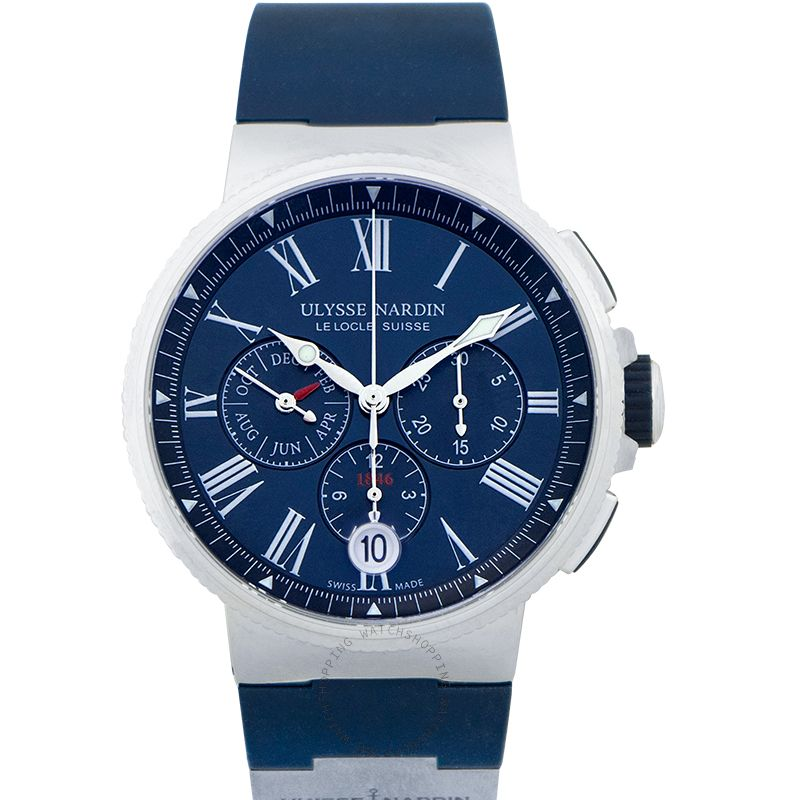 Ulysse Nardin Marine Chronograph Stainless Steel Automatic Blue Dial Men's Watch 1533-150/43