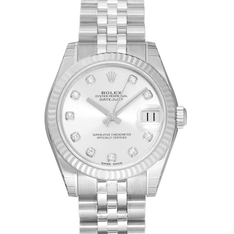 Rolex Datejust 31 Steel And 18ct White Gold Automatic Silver Diamond Dial Ladies Watch