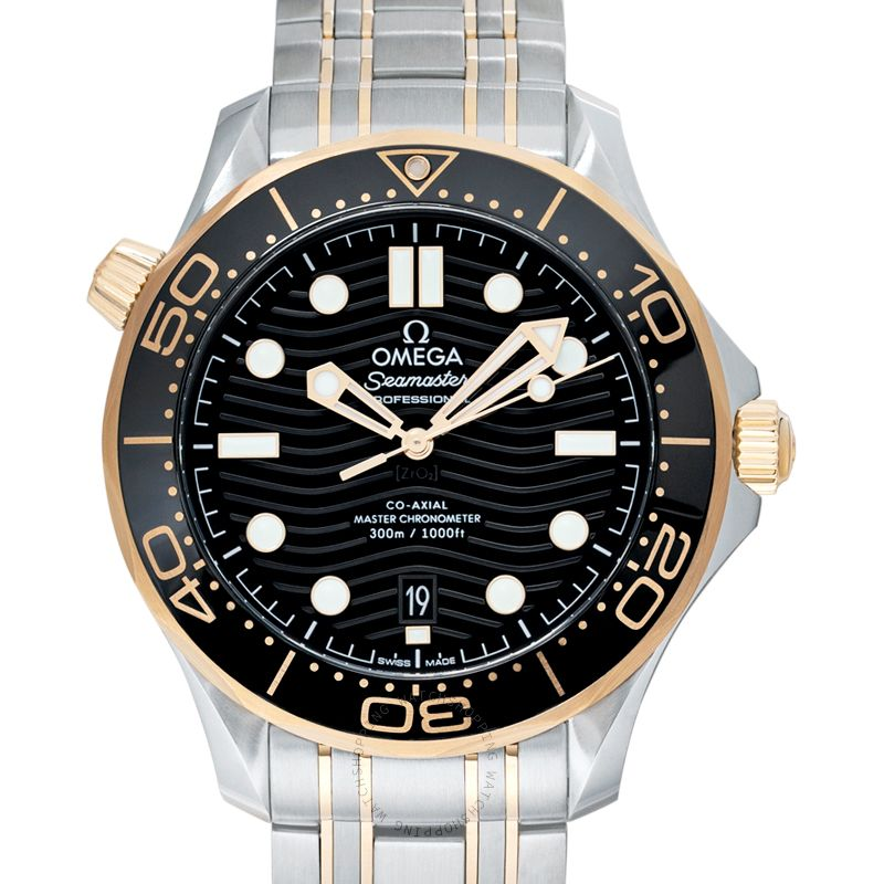 Omega Seamaster Diver 300 M Co-Axial Master Chronometer 42 mm Automatic Black Dial Yellow Gold Men's Watch 210.20.42.20.01.002