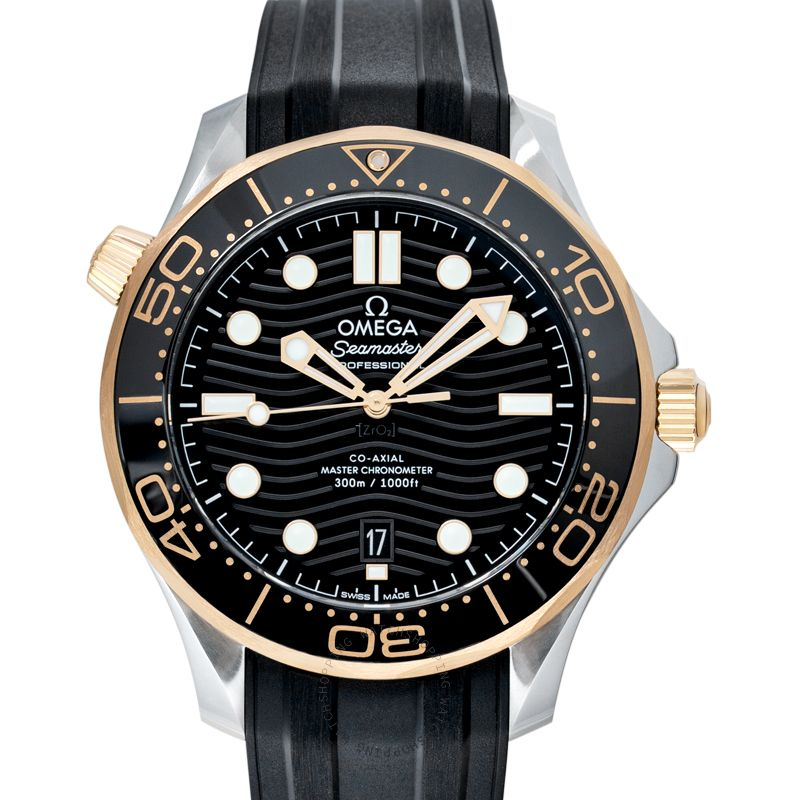 Omega Seamaster Diver 300 M Co‑Axial Master Chronometer 42 mm Automatic Black Dial Yellow Gold Men's Watch