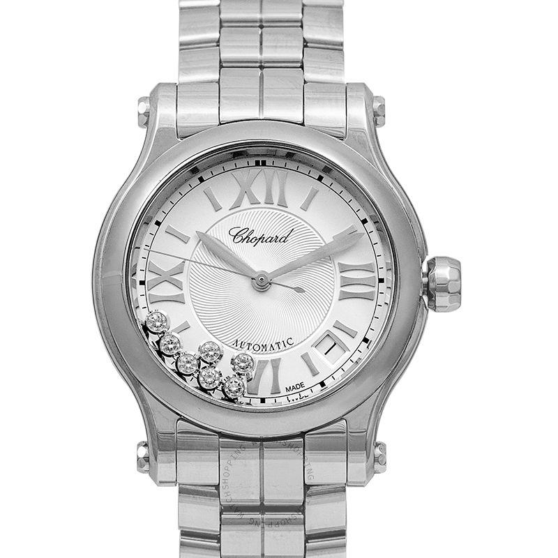 Chopard Happy Sport 36 mm Automatic Silver Dial Diamonds Ladies Watch 278559-3002
