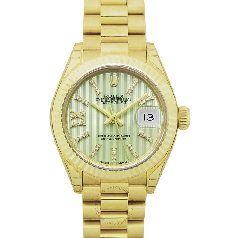 Rolex Lady-Datejust 18ct Yellow Gold Automatic Cornflower Green Diamond Dial Ladies Watch 279178-0008