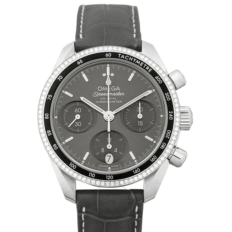 Omega Speedmaster Co-Axial Chronograph 38 mm Automatic Grey Dial Steel Ladies Watch 324.38.38.50.06.001