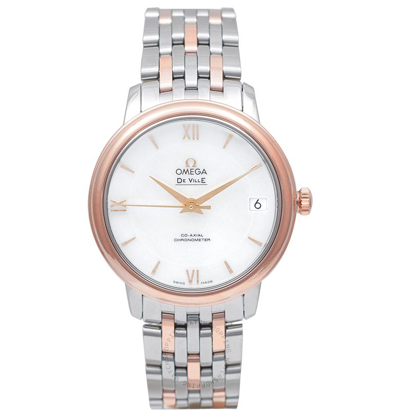 Omega De Ville Prestige Co-Axial 32.7 mm White Dial Red Gold Ladies Watch 424.20.33.20.05.002