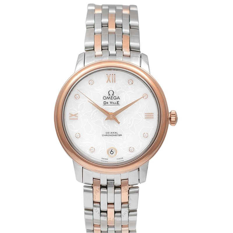 Omega De Ville Prestige Butterfly Co-Axial 32.7mm Automatic Mother of pearl Dial Diamonds Rose Gold Ladies Watch 424.20.33.20.55.001