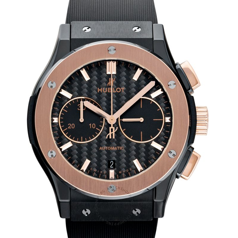 Hublot Classic Fusion Chronograph Ceramic King Gold Automatic Black Dial Men's Watch