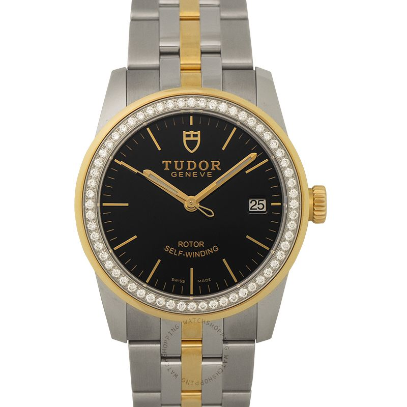 Tudor Glamour Date Swiss Yellow Gold Automatic Black Dial Diamonds Unisex Watch 55023-0021