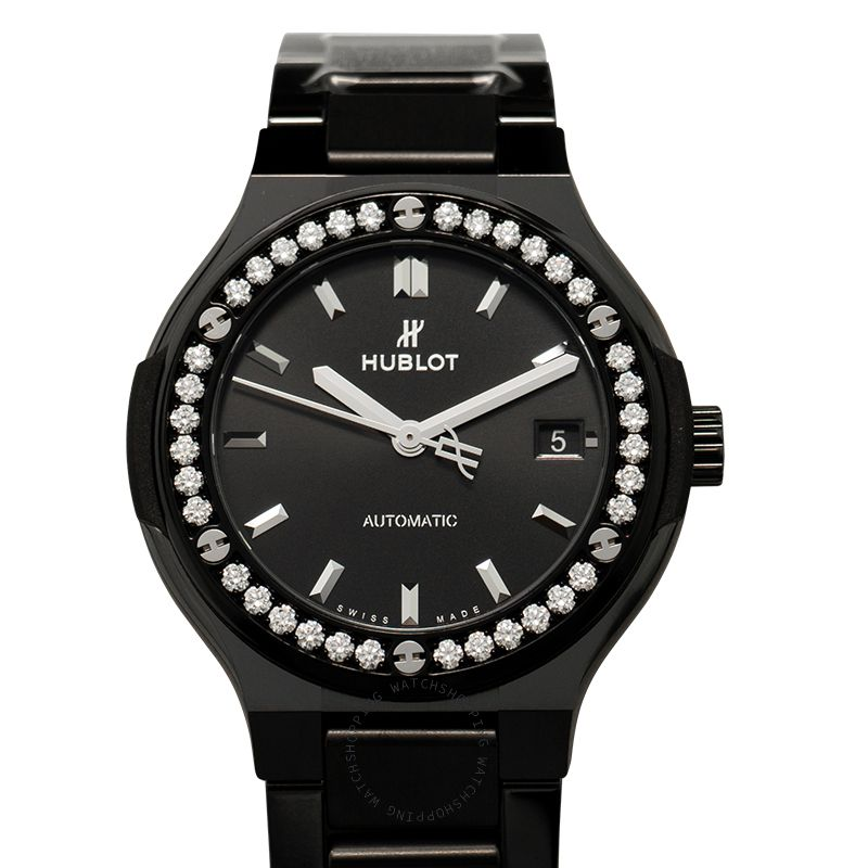 Hublot Classic Fusion Black Magic Bracelet Diamonds Automatic Black Dial Ceramic Ladies Watch 568.CM.1470.CM.1204
