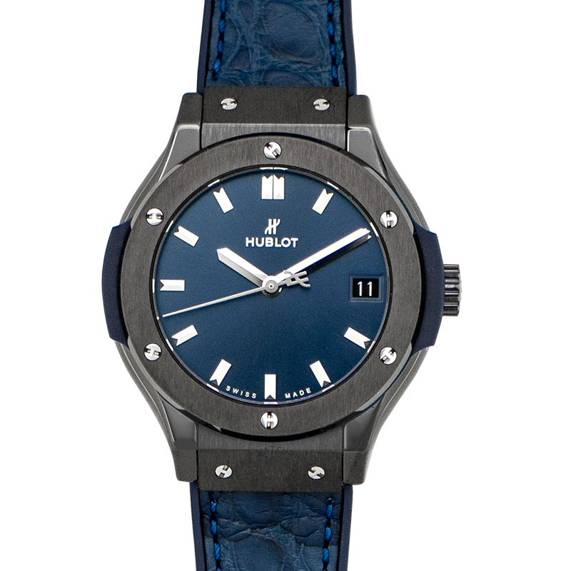 Hublot Classic Fusion Ceramic Blue Quartz Blue Dial Ladies Watch 581.CM.7170.LR