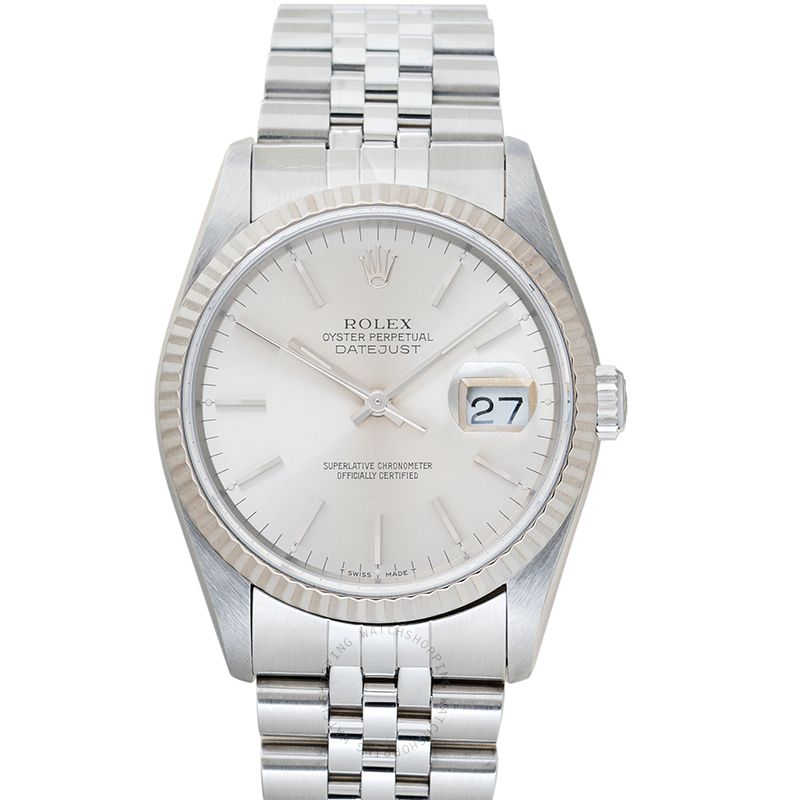 Rolex Datejust Silver Dial Jubilee Bracelet 16234 Silver Index_@_39686