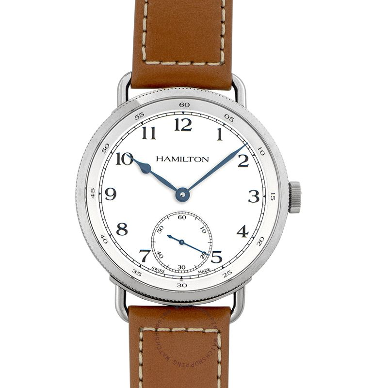 Hamilton Navy Pioneer Automatic White Dial Tan Leather Men's Watch H78719553