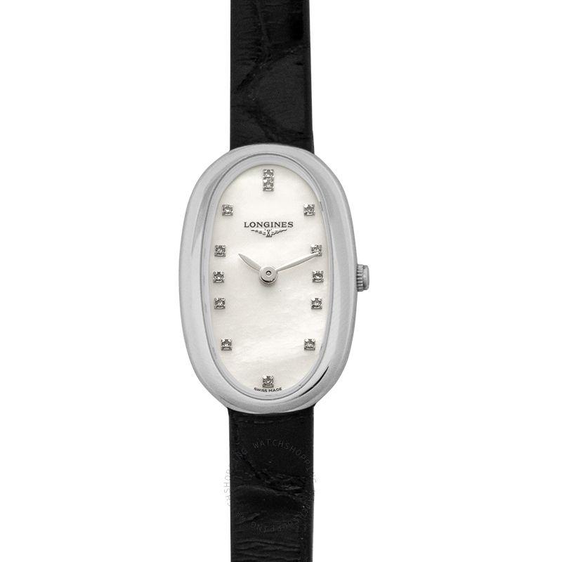 Longines Symphonette Quartz White Mother Of Pearl Dial Diamond Ladies Watch