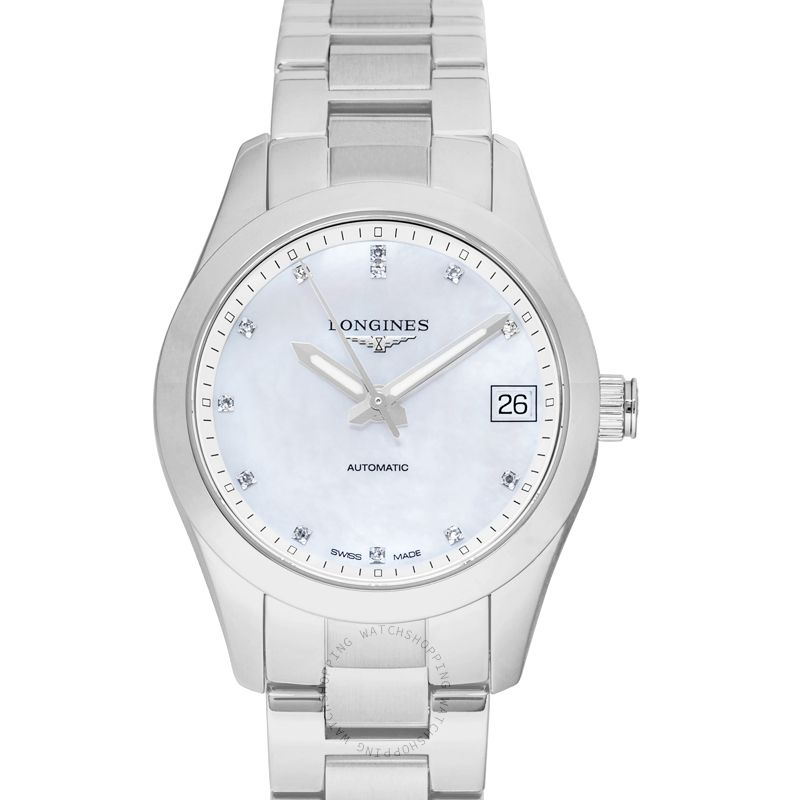 Longines Conquest Classic Automatic Mother of Pearl Dial Diamond Ladies Watch