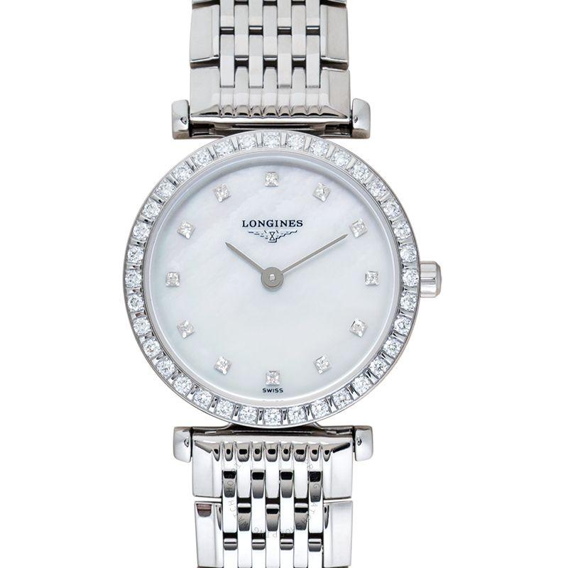 Longines La Grande Classique de Longines Quartz White Mother Of Pearl Dial Diamond Ladies Watch