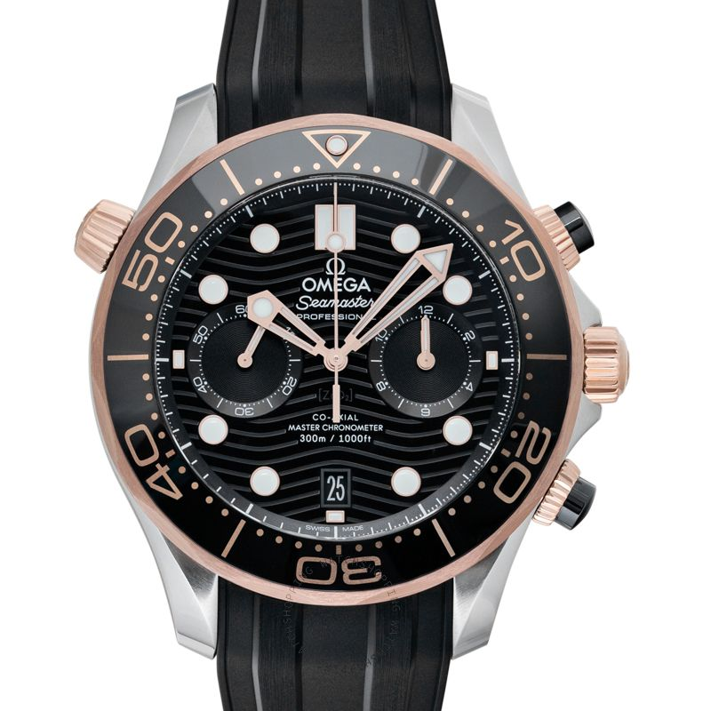 Omega Seamaster Co-Axial Master Chronometer Chronograph 44 mm Automatic Black Dial Gold Men's Watch 210.22.44.51.01.001