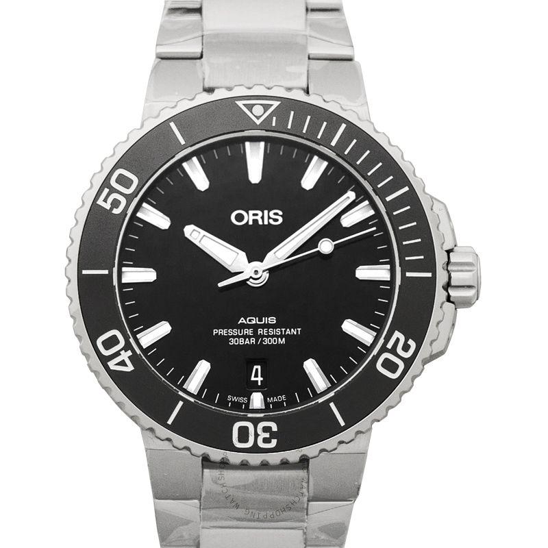 Oris Aquis Date Automatic Black Dial Bracelet Men's Watch 01 733 7732 4134-07 8 21 05PEB