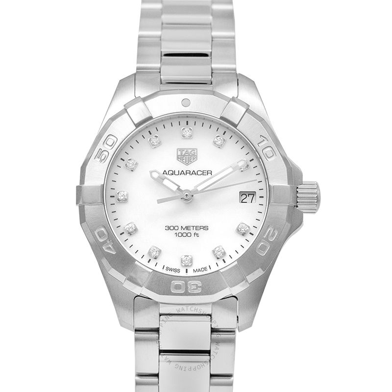 TAG Heuer Aquaracer Quartz Mother Of Pearl Dial with Diamonds Ladies Watch WBD1314.BA0740