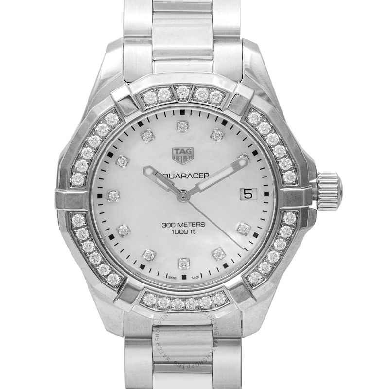 TAG Heuer Aquaracer Quartz Mother Of Pearl Dial with Diamonds Ladies Watch
