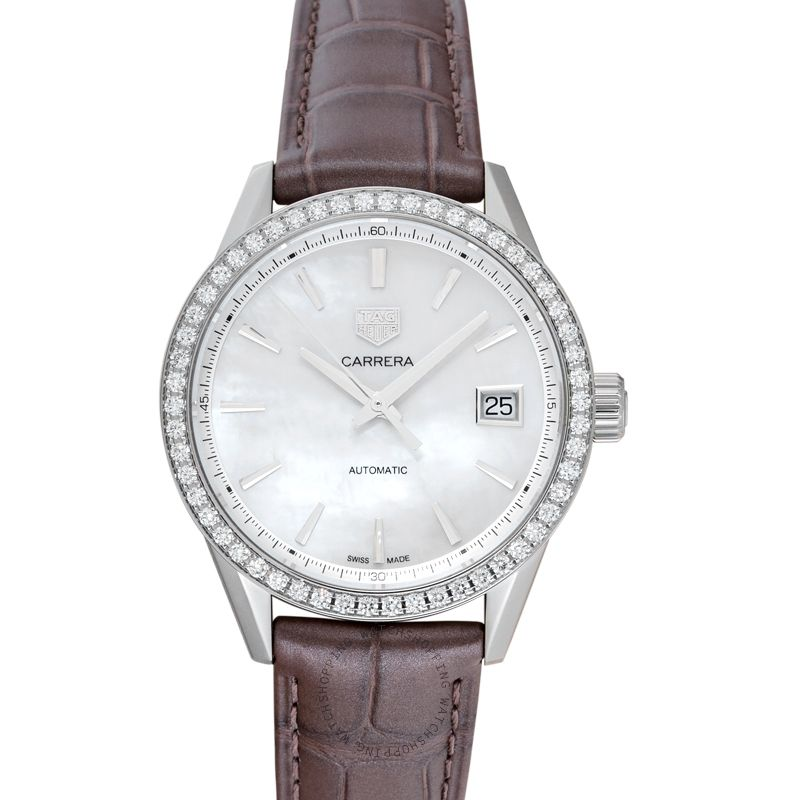 TAG Heuer Carrera Calibre 5 Automatic White Mother of Pearl Diamond Bezel Ladies Watch WBK2316.FC8258