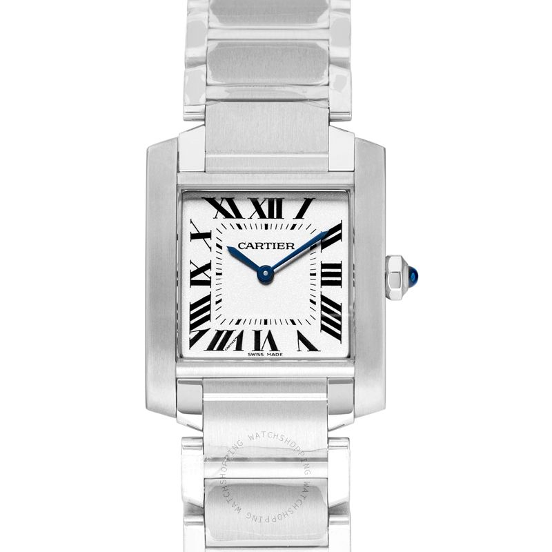 Cartier Tank Francaise 30 mm Quartz Silver Dial Steel Ladies Watch